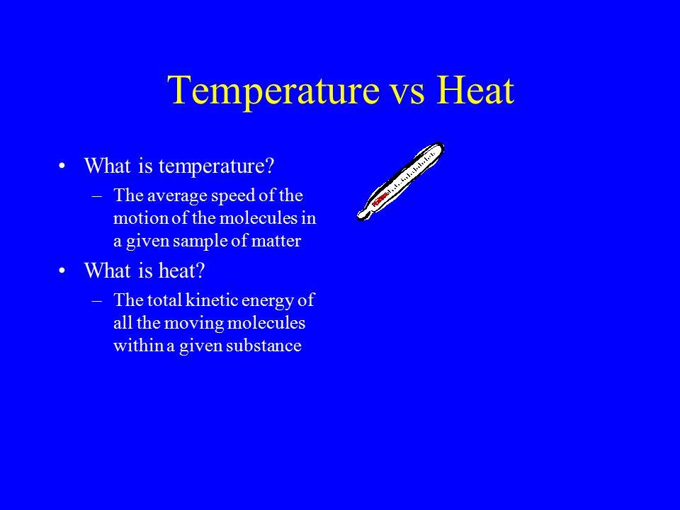 Temperature vs Heat What is temperature.