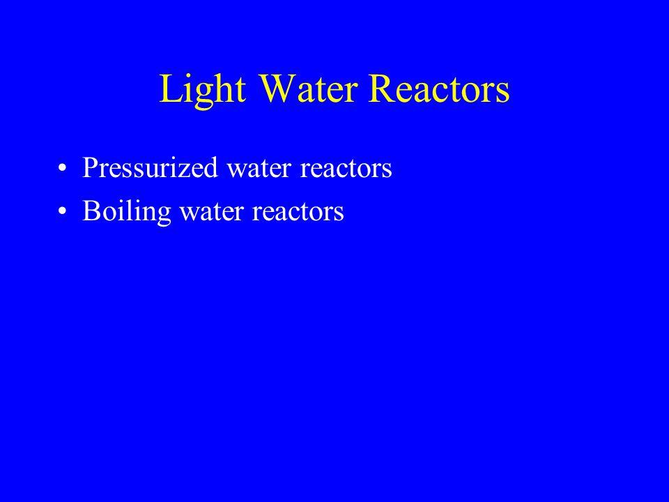 Light Water Reactors Pressurized water reactors Boiling water reactors