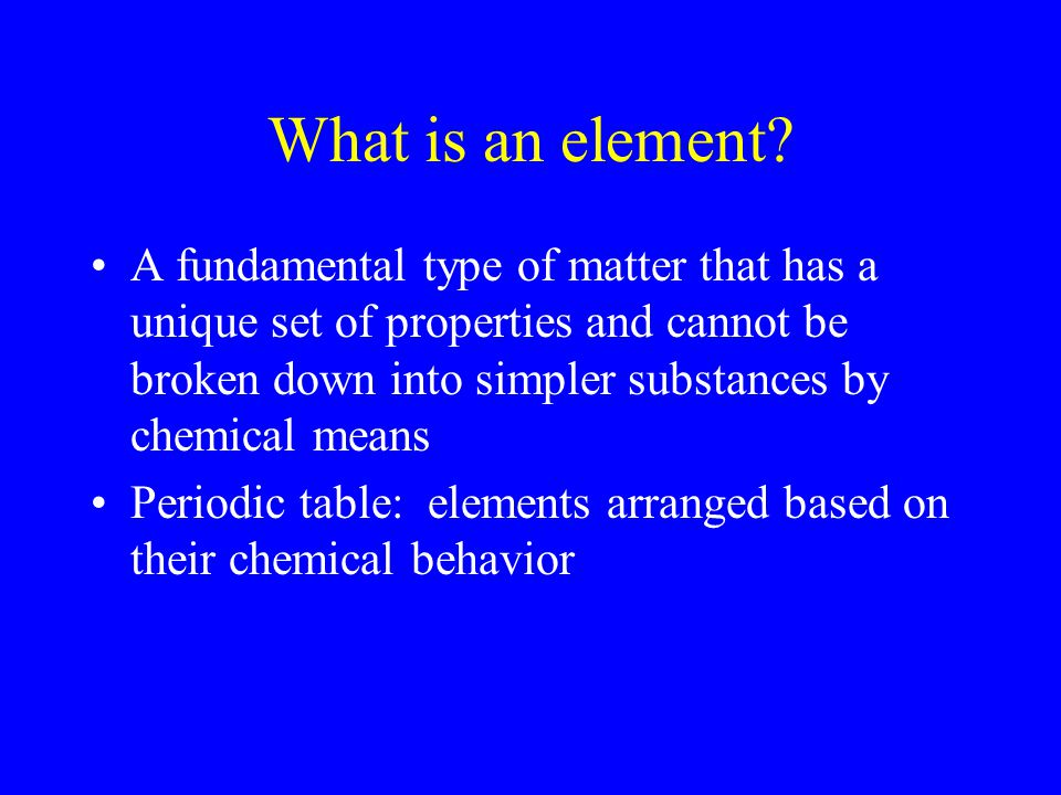 What is an element.