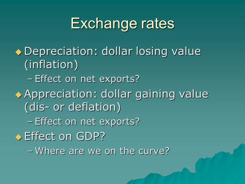 Exchange rates  Depreciation: dollar losing value (inflation) –Effect on net exports?  Appreciation: dollar gaining value (dis- or deflation) –Effec