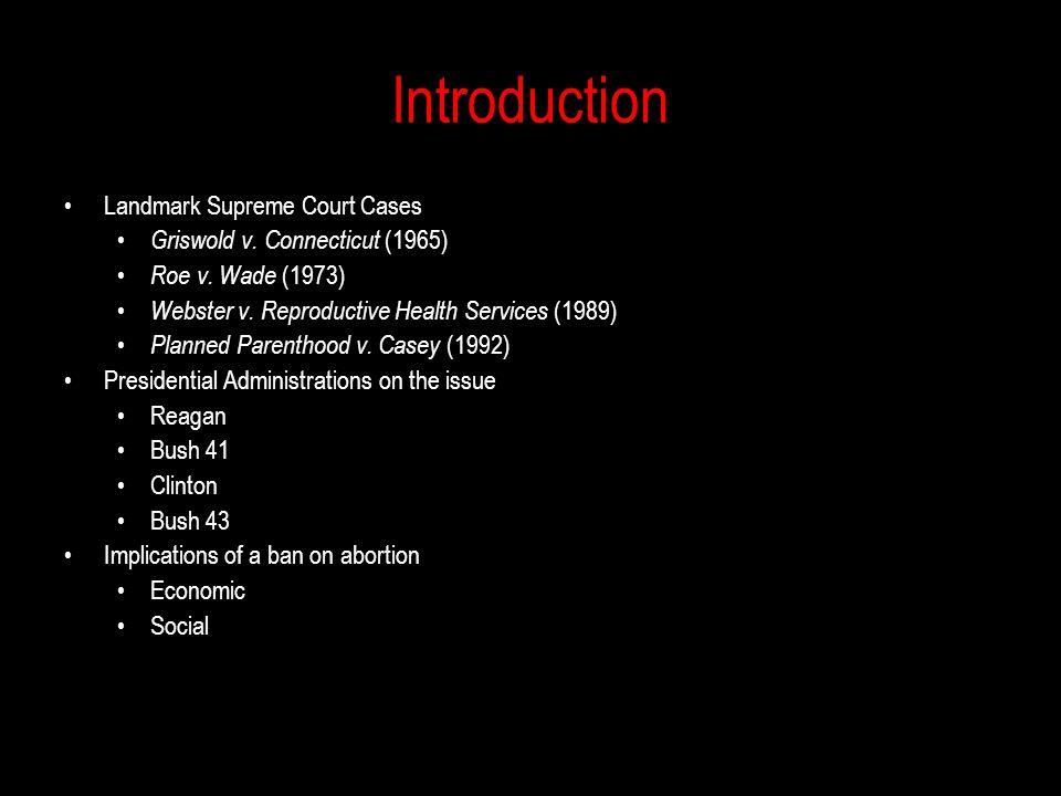 Landmark Supreme Court Cases Griswold v.Connecticut (1965) Roe v.