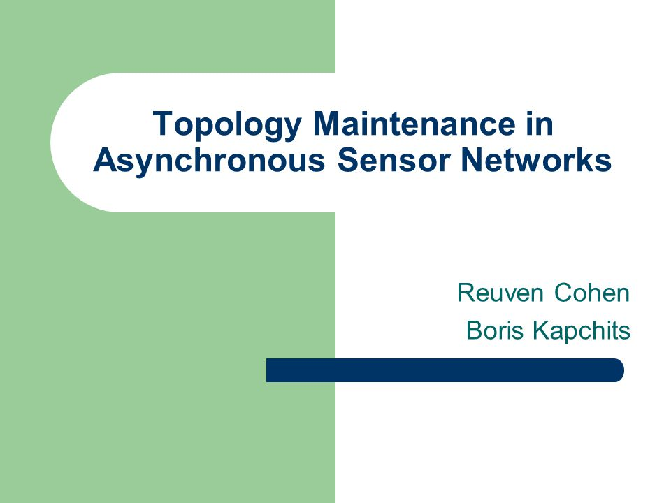 Topology Maintenance in Asynchronous Sensor Networks Reuven Cohen Boris Kapchits