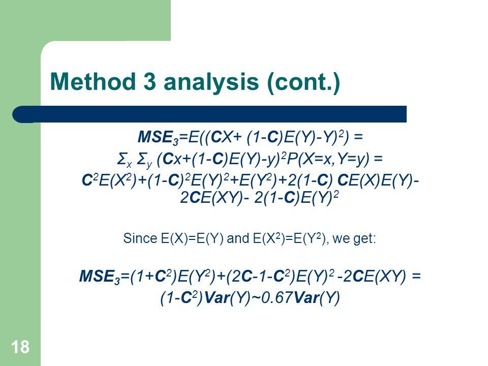 18 Method 3 analysis (cont.) MSE 3 =E((CX+ (1-C)E(Y)-Y) 2 ) = Σ x Σ y (Cx+(1-C)E(Y)-y) 2 P(X=x,Y=y) = C 2 E(X 2 )+(1-C) 2 E(Y) 2 +E(Y 2 )+2(1-C) CE(X)E(Y)- 2CE(XY)- 2(1-C)E(Y) 2 Since E(X)=E(Y) and E(X 2 )=E(Y 2 ), we get: MSE 3 =(1+C 2 )E(Y 2 )+(2C-1-C 2 )E(Y) 2 -2CE(XY) = (1-C 2 )Var(Y)~0.67Var(Y)