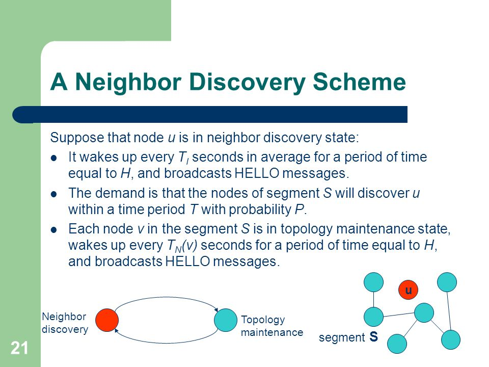 21 A Neighbor Discovery Scheme Suppose that node u is in neighbor discovery state: It wakes up every T I seconds in average for a period of time equal to H, and broadcasts HELLO messages.