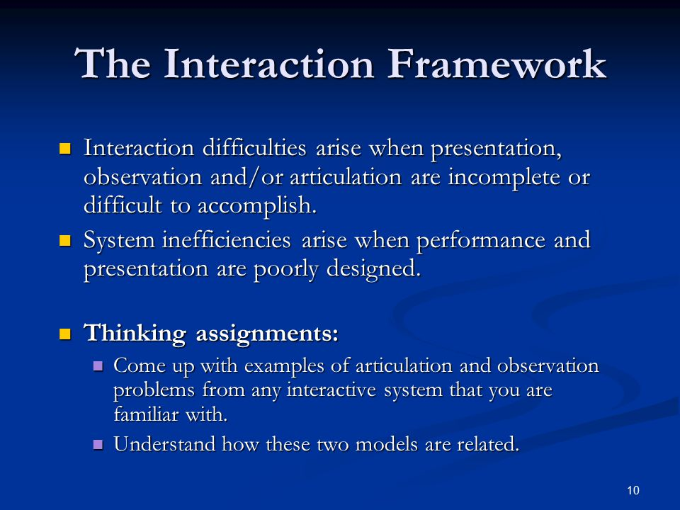 10 The Interaction Framework Interaction difficulties arise when presentation, observation and/or articulation are incomplete or difficult to accompli