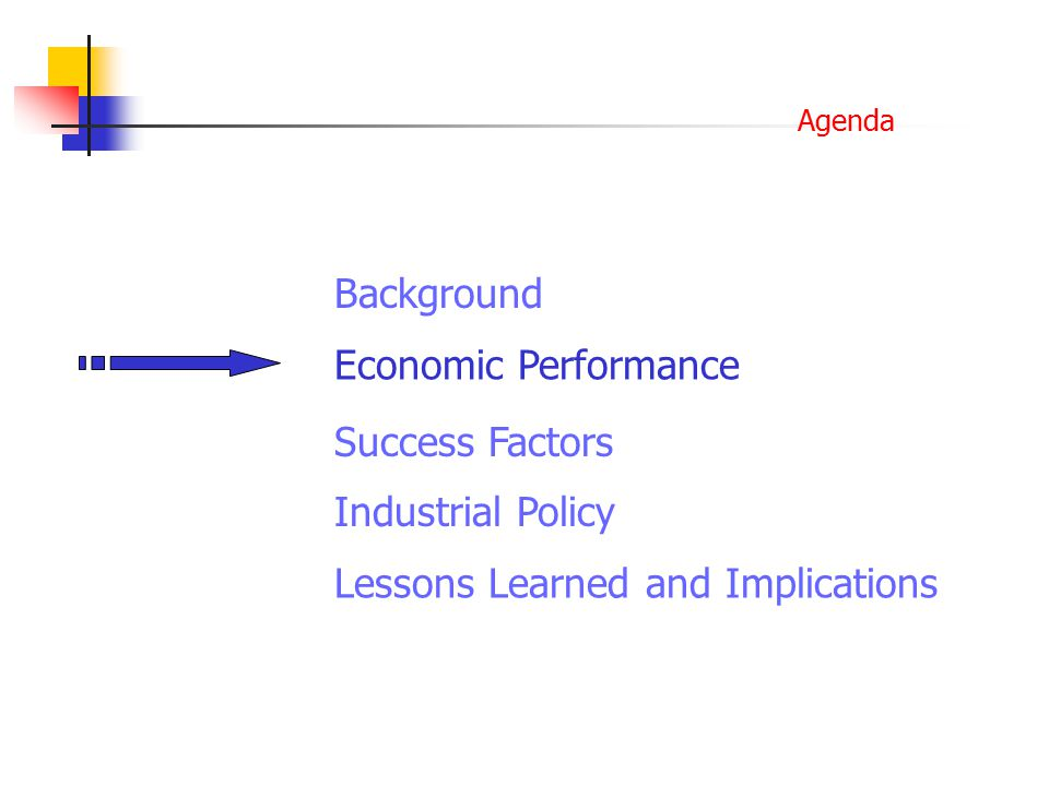 Agenda Background Economic Performance Success Factors Lessons Learned and Implications Industrial Policy