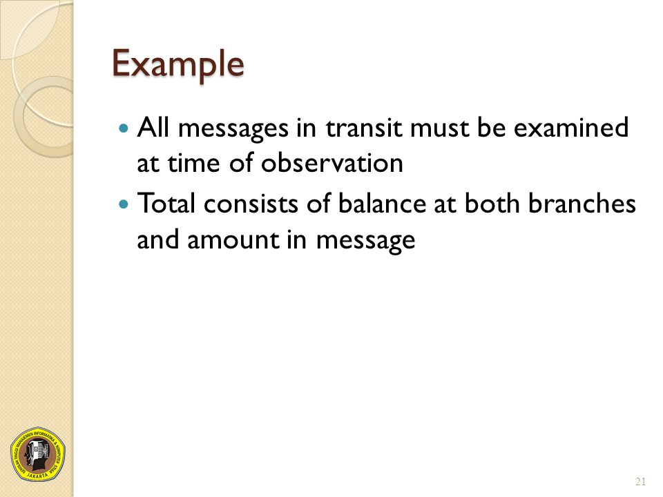 Example All messages in transit must be examined at time of observation Total consists of balance at both branches and amount in message 21