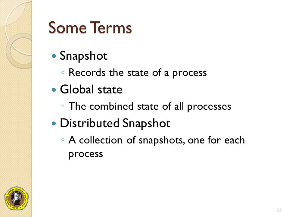 Some Terms Snapshot ◦ Records the state of a process Global state ◦ The combined state of all processes Distributed Snapshot ◦ A collection of snapsho