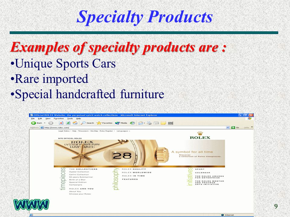 9 Specialty Products Examples of specialty products are : Unique Sports Cars Rare imported Special handcrafted furniture