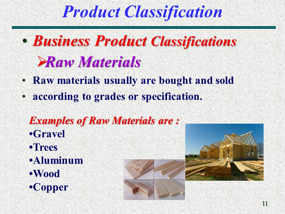 11 Product Classification Business Product ClassificationsBusiness Product Classifications  Raw Materials Raw materials usually are bought and sold according to grades or specification.