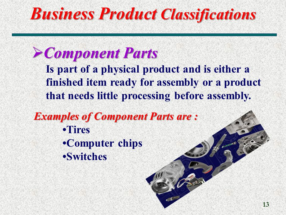 Business Product Classifications 13 Examples of Component Parts are : Tires Computer chips Switches  Component Parts Is part of a physical product and is either a finished item ready for assembly or a product that needs little processing before assembly.