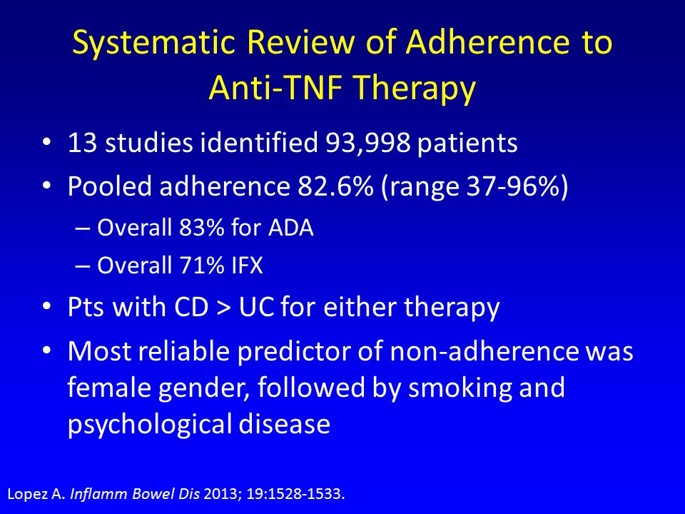Systematic Review of Adherence to Anti-TNF Therapy 13 studies identified 93,998 patients Pooled adherence 82.6% (range 37-96%) – Overall 83% for ADA – Overall 71% IFX Pts with CD > UC for either therapy Most reliable predictor of non-adherence was female gender, followed by smoking and psychological disease Lopez A.