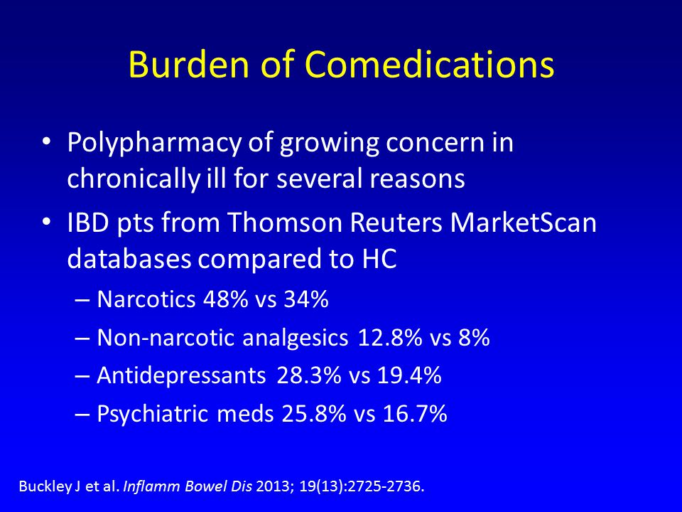 Burden of Comedications Polypharmacy of growing concern in chronically ill for several reasons IBD pts from Thomson Reuters MarketScan databases compared to HC – Narcotics 48% vs 34% – Non-narcotic analgesics 12.8% vs 8% – Antidepressants 28.3% vs 19.4% – Psychiatric meds 25.8% vs 16.7% Buckley J et al.
