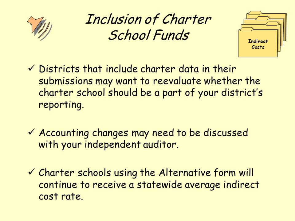 Inclusion of Charter School Funds Districts that include charter data in their submissions may want to reevaluate whether the charter school should be