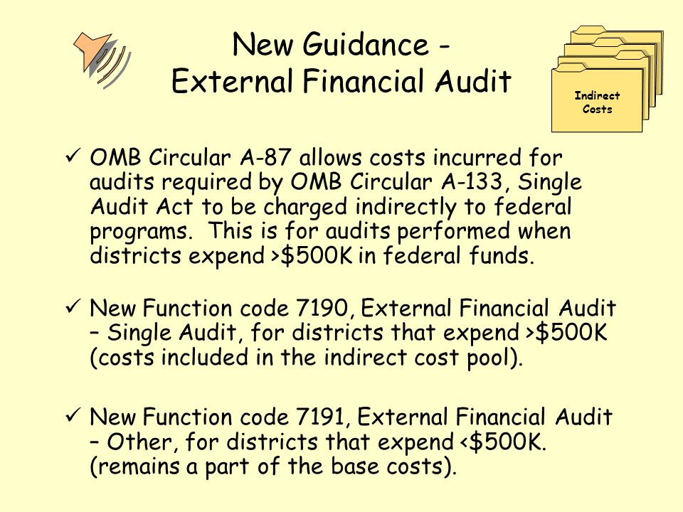 New Guidance - External Financial Audit OMB Circular A-87 allows costs incurred for audits required by OMB Circular A-133, Single Audit Act to be char
