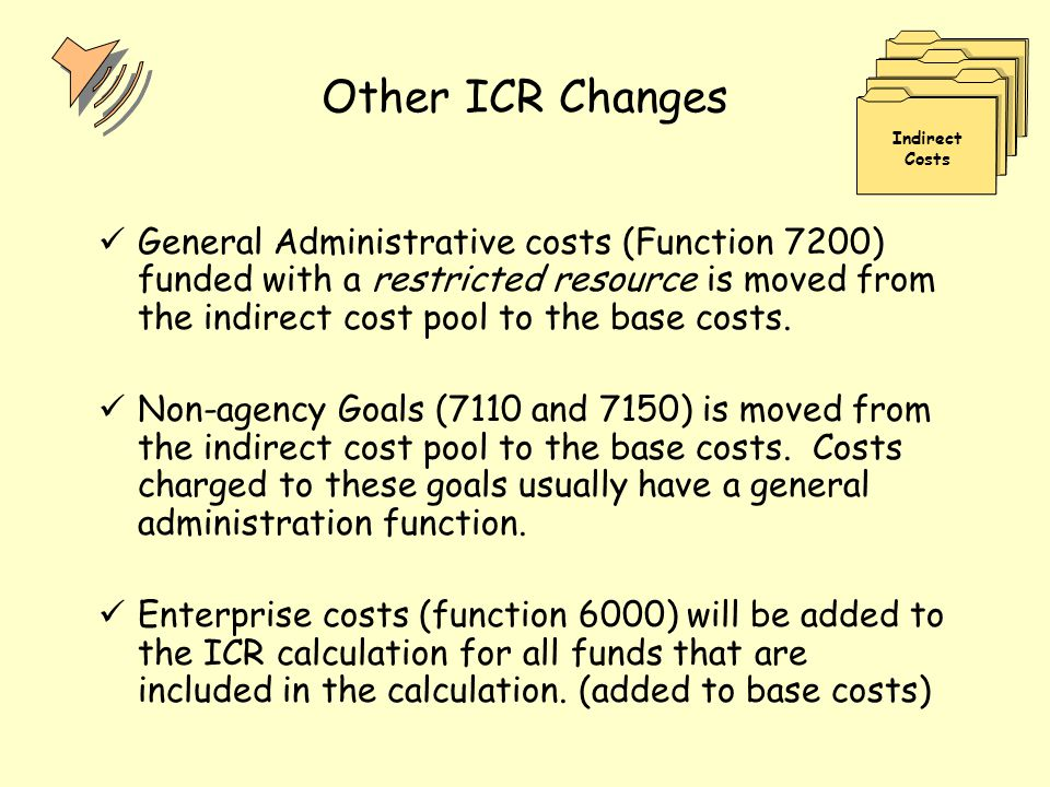 Other ICR Changes General Administrative costs (Function 7200) funded with a restricted resource is moved from the indirect cost pool to the base cost