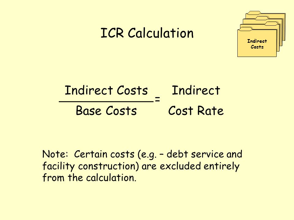 ICR Calculation Indirect Costs Indirect = Base CostsCost Rate Note: Certain costs (e.g. – debt service and facility construction) are excluded entirel