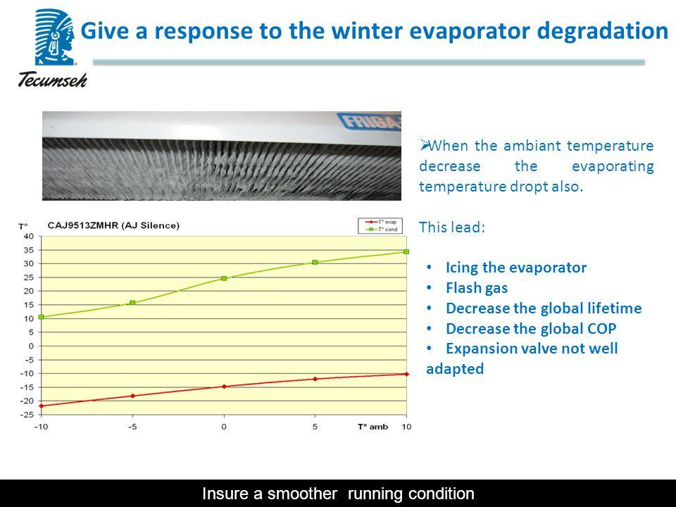  When the ambiant temperature decrease the evaporating temperature dropt also. This lead: Icing the evaporator Flash gas Decrease the global lifetime
