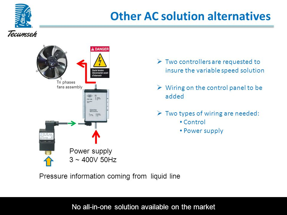 Other AC solution alternatives  Two controllers are requested to insure the variable speed solution  Wiring on the control panel to be added  Two t