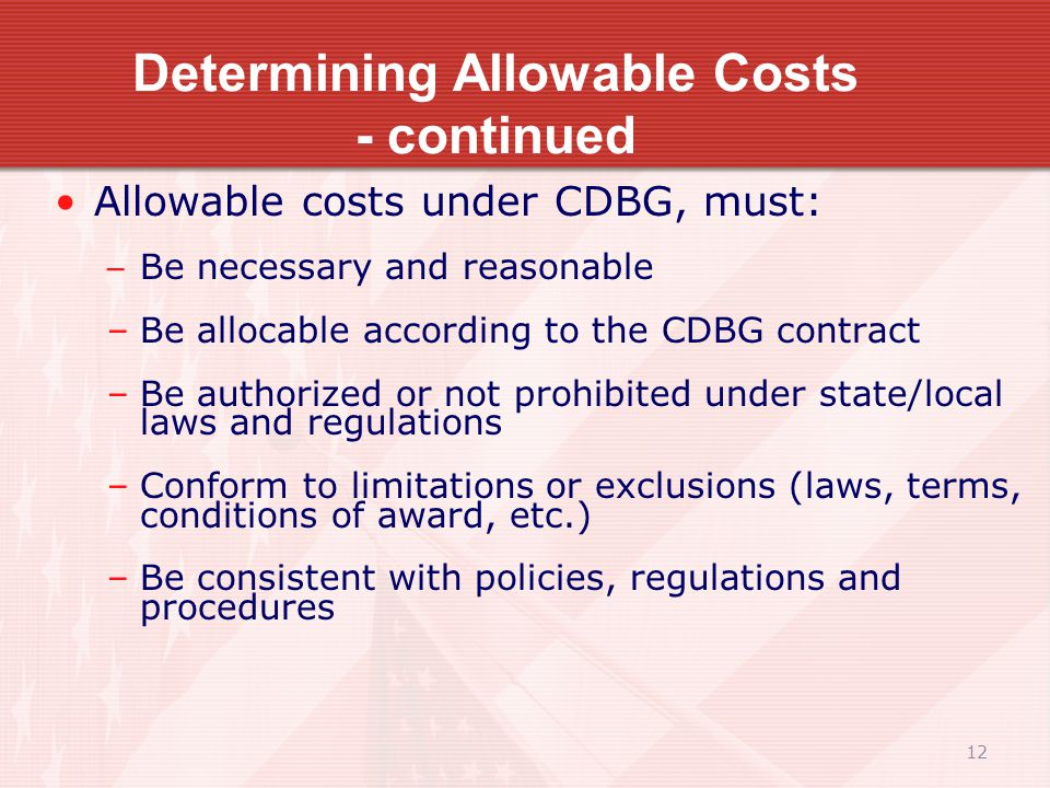 12 Determining Allowable Costs - continued Allowable costs under CDBG, must: – Be necessary and reasonable –Be allocable according to the CDBG contract –Be authorized or not prohibited under state/local laws and regulations –Conform to limitations or exclusions (laws, terms, conditions of award, etc.) –Be consistent with policies, regulations and procedures