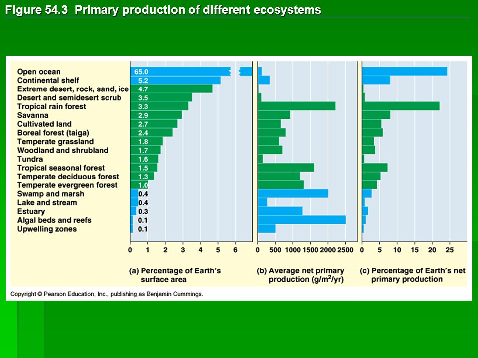 Figure 54.3 Primary production of different ecosystems