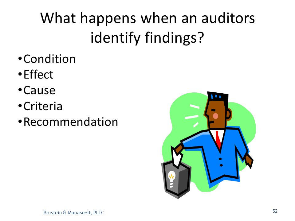 What happens when an auditors identify findings.
