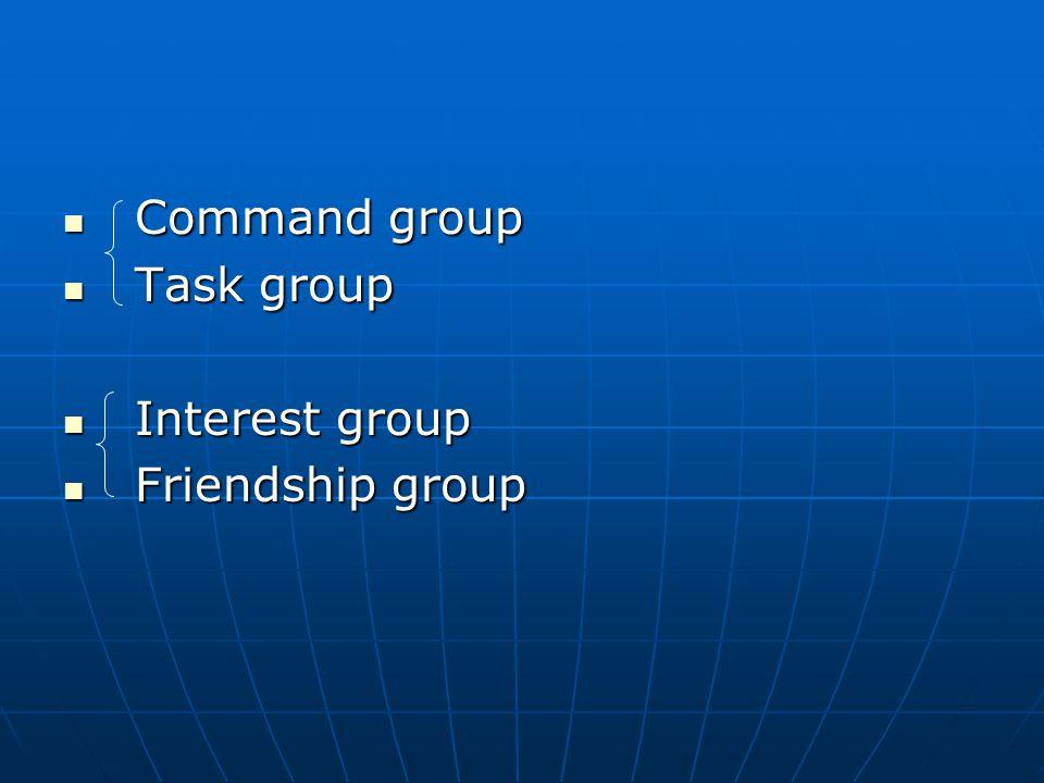 Command group Command group Task group Task group Interest group Interest group Friendship group Friendship group
