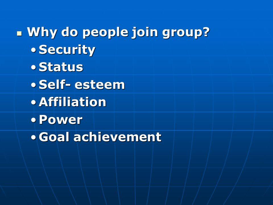 Why do people join group? Why do people join group? SecuritySecurity StatusStatus Self- esteemSelf- esteem AffiliationAffiliation PowerPower Goal achi