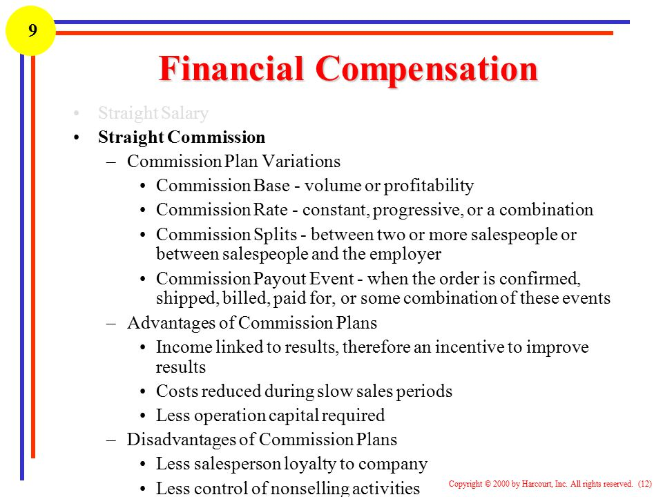 1 Copyright © 2000 by Harcourt, Inc. All rights reserved. (12) 9 Financial Compensation Straight Salary Straight Commission –Commission Plan Variation