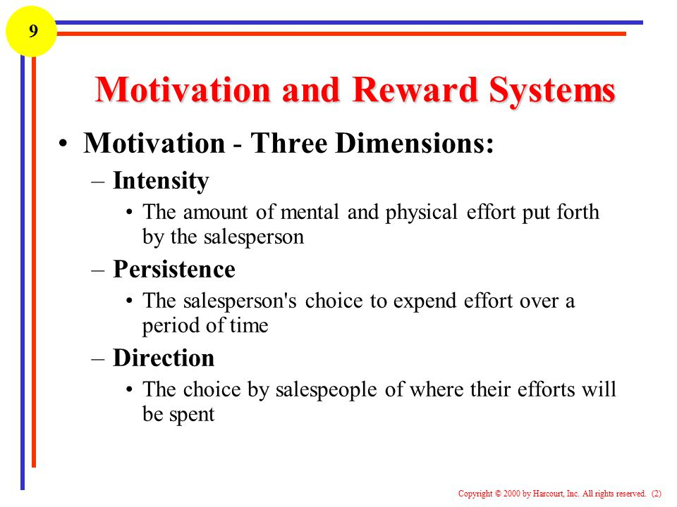 1 Copyright © 2000 by Harcourt, Inc. All rights reserved. (2) 9 Motivation and Reward Systems Motivation - Three Dimensions: –Intensity The amount of
