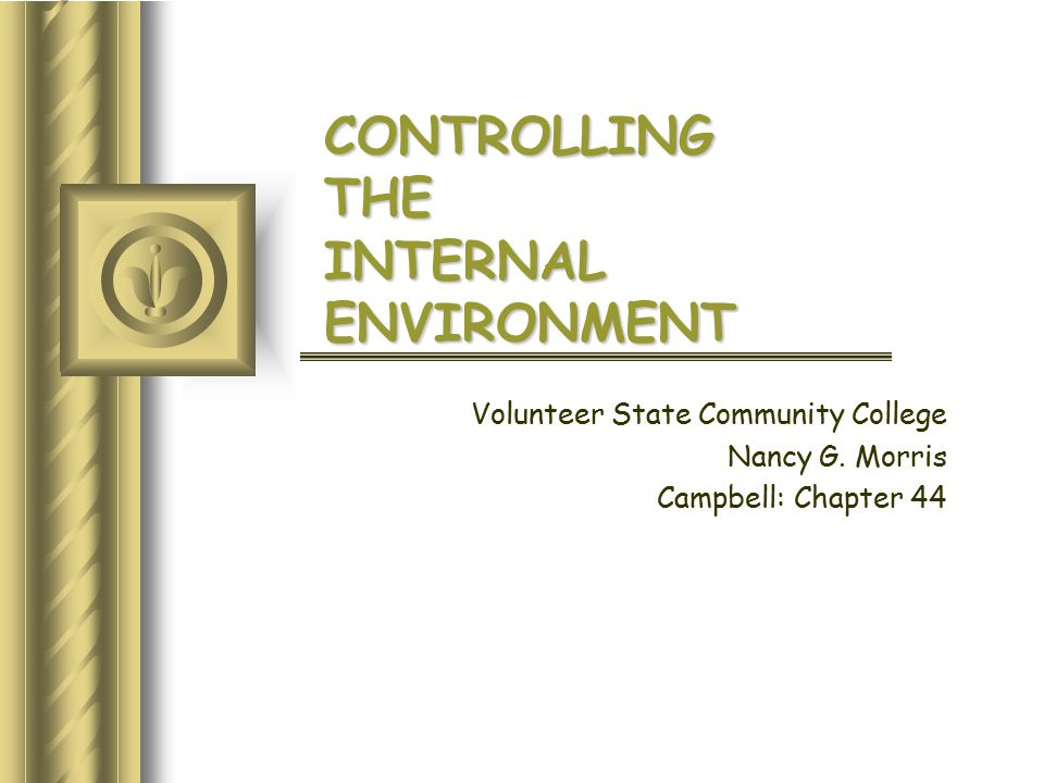 CONTROLLING THE INTERNAL ENVIRONMENT Volunteer State Community College Nancy G.