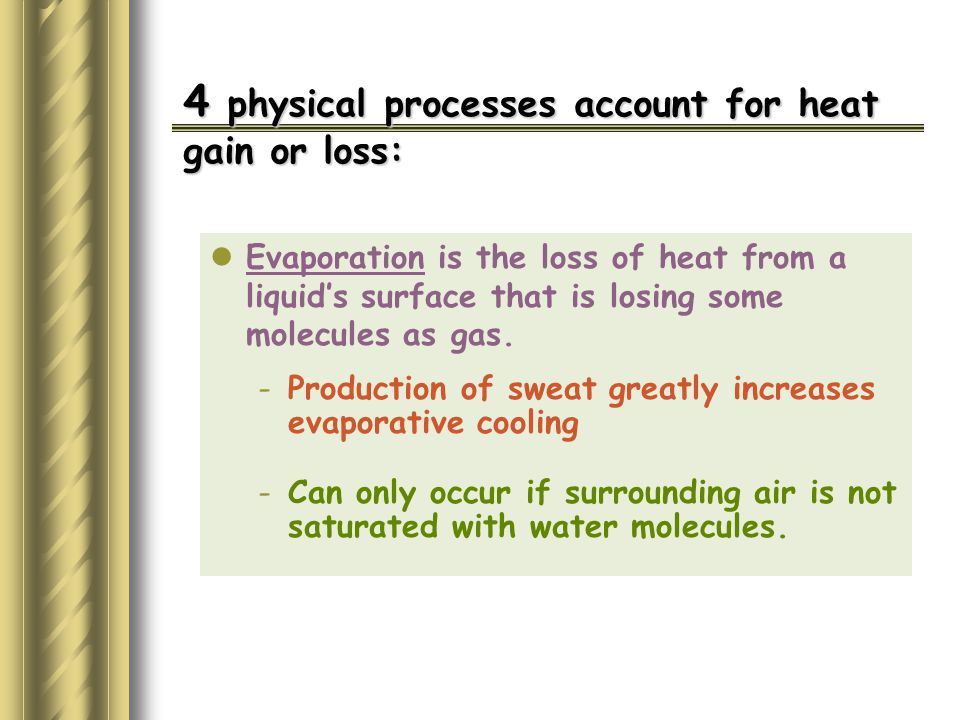 4 physical processes account for heat gain or loss: Evaporation is the loss of heat from a liquid's surface that is losing some molecules as gas.