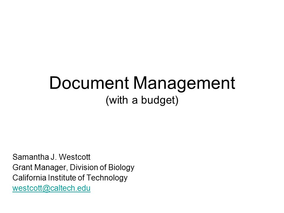 Document Management (with a budget) Samantha J.