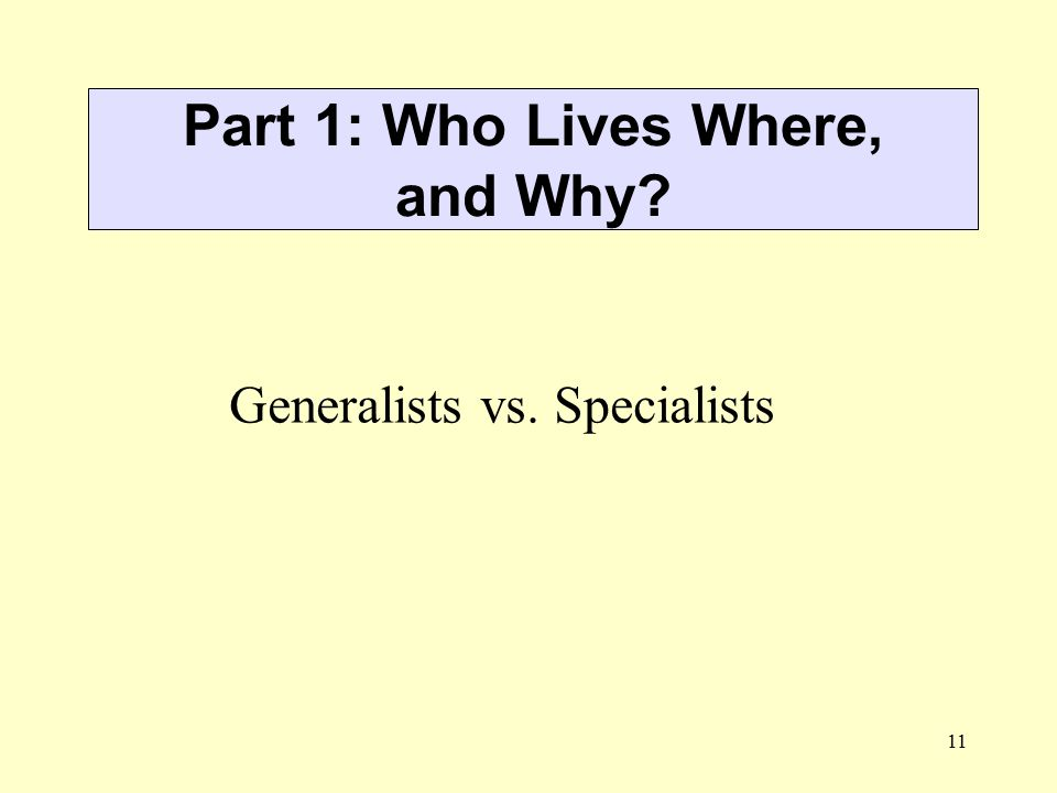 11 Part 1: Who Lives Where, and Why? Generalists vs. Specialists
