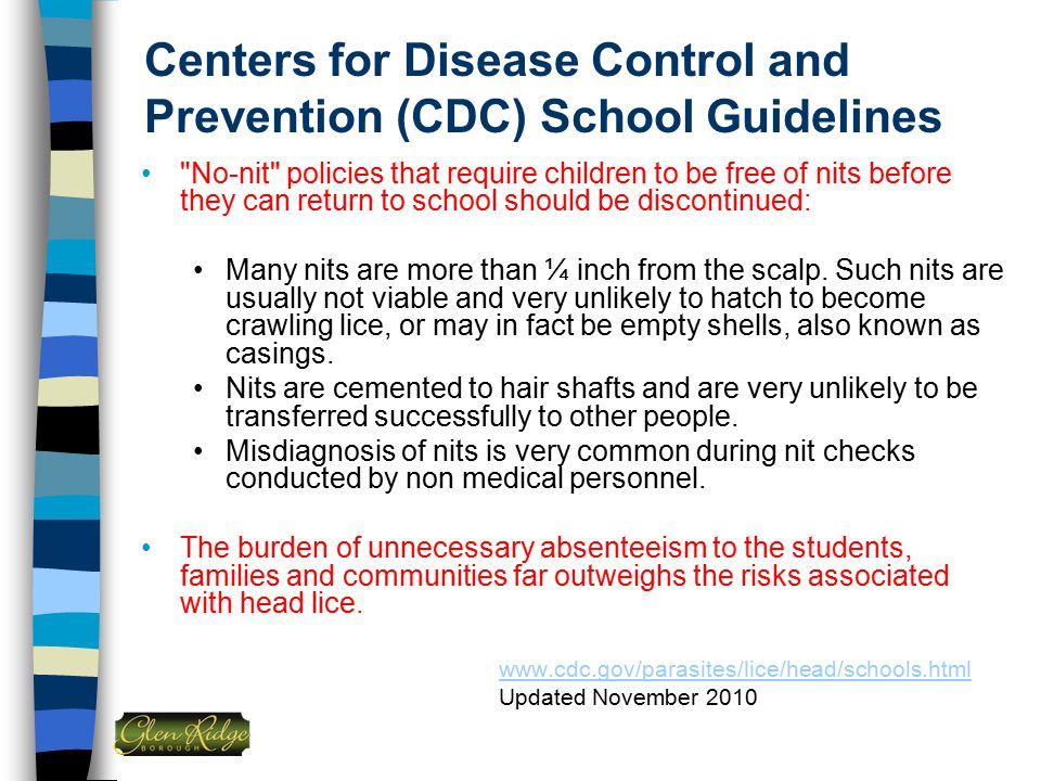 Centers for Disease Control and Prevention (CDC) School Guidelines