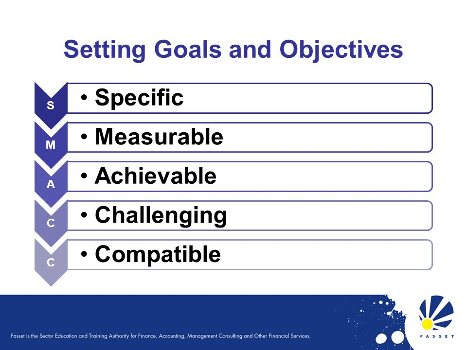 Setting Goals and Objectives S Specific M Measurable A Achievable C Challenging C Compatible