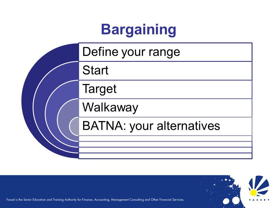 Define your range Start Target Walkaway BATNA: your alternatives