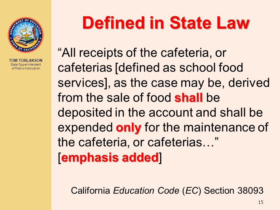 "TOM TORLAKSON State Superintendent of Public Instruction Defined in State Law shall only emphasis added ""All receipts of the cafeteria, or cafeterias"