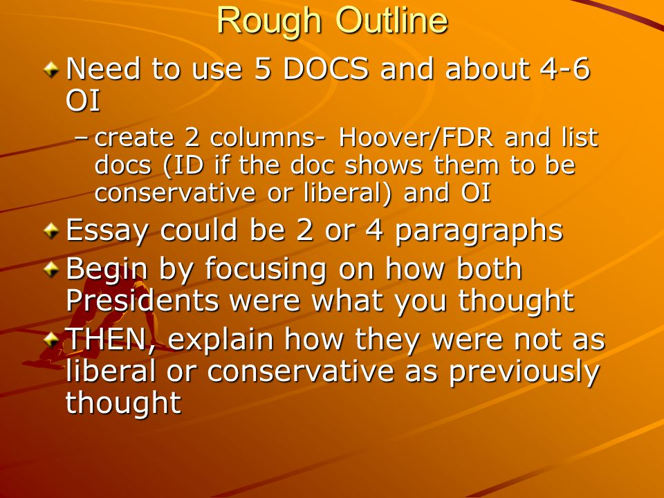Rough Outline Need to use 5 DOCS and about 4-6 OI –create 2 columns- Hoover/FDR and list docs (ID if the doc shows them to be conservative or liberal)