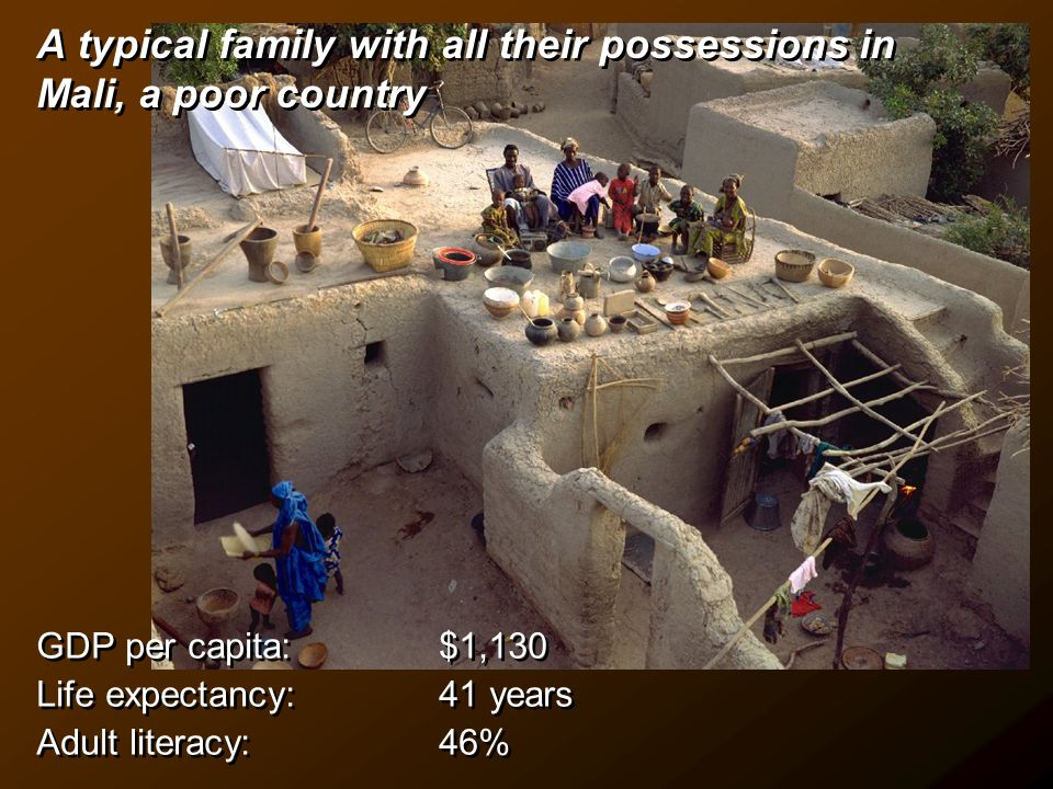 A typical family with all their possessions in Mali, a poor country GDP per capita: $1,130 Life expectancy: 41 years Adult literacy: 46% GDP per capita: $1,130 Life expectancy: 41 years Adult literacy: 46%