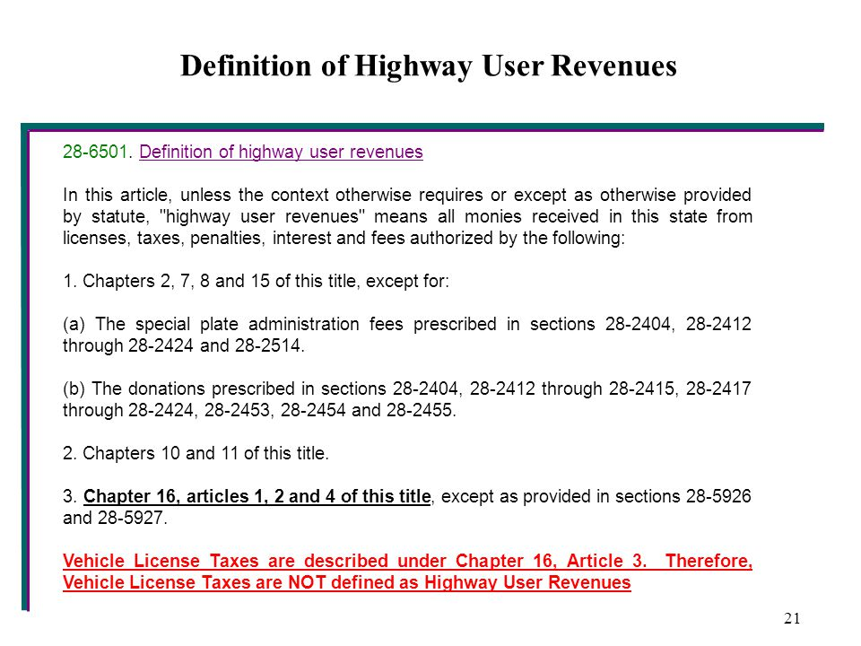 Definition of Highway User Revenues 28-6501.
