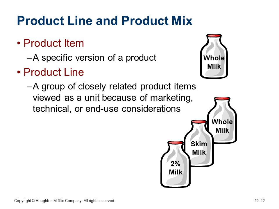 Copyright © Houghton Mifflin Company. All rights reserved. 10–12 Product Line and Product Mix Product Item –A specific version of a product Product Li