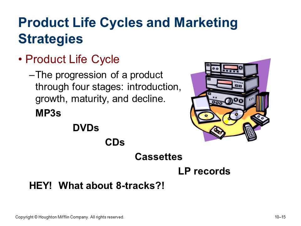 Copyright © Houghton Mifflin Company. All rights reserved. 10–15 Product Life Cycles and Marketing Strategies Product Life Cycle –The progression of a