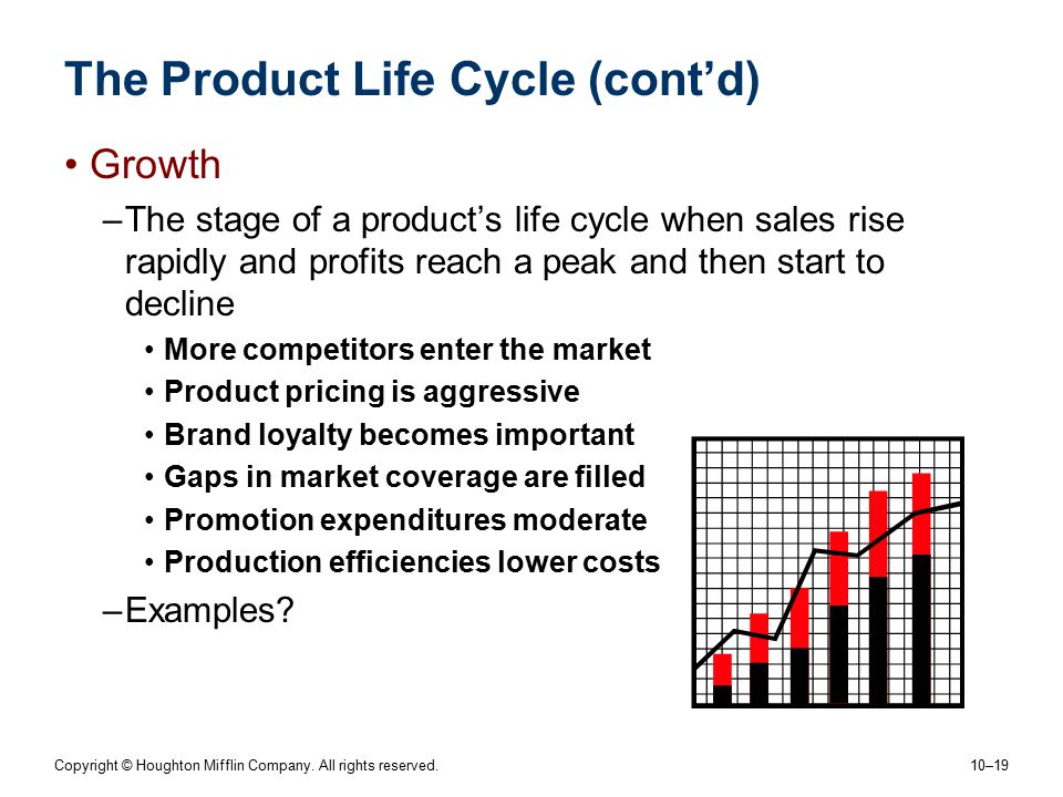 Copyright © Houghton Mifflin Company. All rights reserved. 10–19 The Product Life Cycle (cont'd) Growth –The stage of a product's life cycle when sale