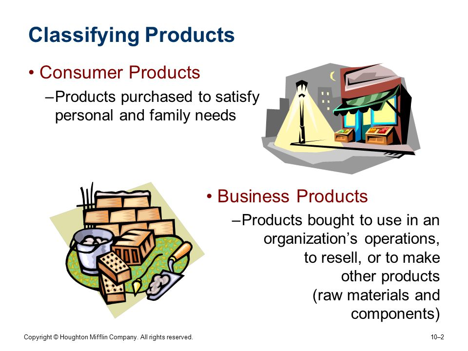 Copyright © Houghton Mifflin Company. All rights reserved. 10–2 Classifying Products Consumer Products –Products purchased to satisfy personal and fam