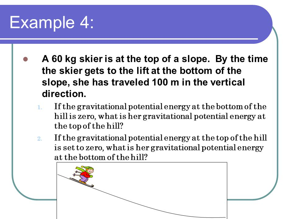 Example 4: A 60 kg skier is at the top of a slope.