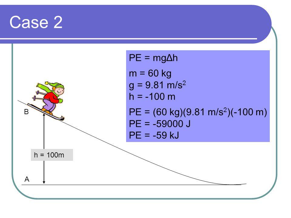PE = mgΔh m = 60 kg g = 9.81 m/s 2 h = -100 m PE = (60 kg)(9.81 m/s 2 )(-100 m) PE = -59000 J PE = -59 kJ Case 2 h = 100m A B