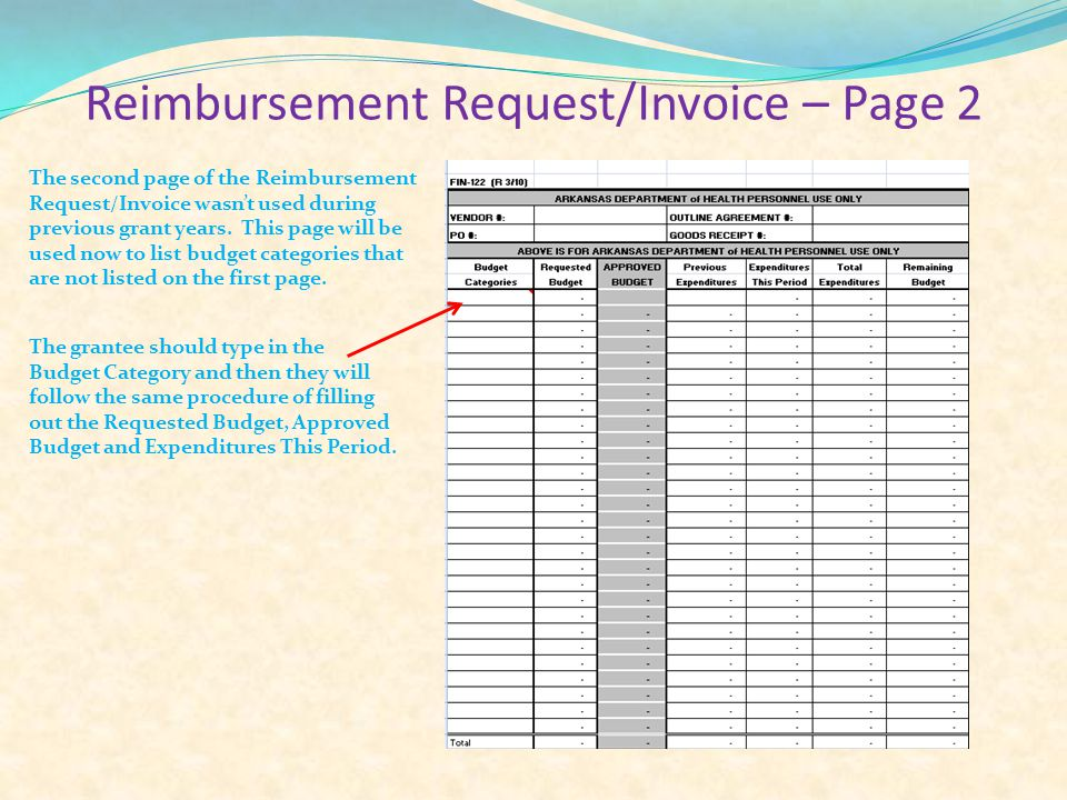 Reimbursement Request/Invoice – Page 2 The second page of the Reimbursement Request/Invoice wasn't used during previous grant years.