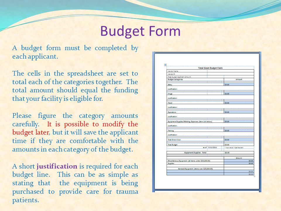 Budget Form A budget form must be completed by each applicant.