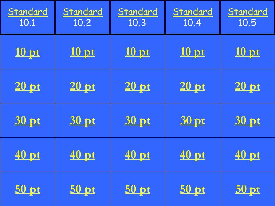 20 pt 30 pt 40 pt 50 pt 10 pt 20 pt 30 pt 40 pt 50 pt 10 pt 20 pt 30 pt 40 pt 50 pt 10 pt 20 pt 30 pt 40 pt 50 pt 10 pt 20 pt 30 pt 40 pt 50 pt 10 pt Standard 10.1 Standard 10.2 Standard 10.3 Standard 10.4 Standard 10.5